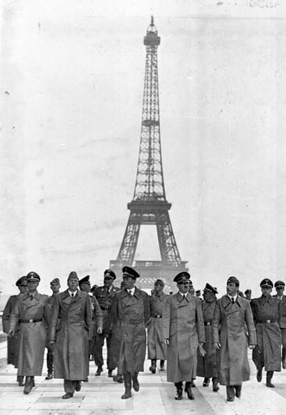 Hitler in front of the Eiffel Tower. Paris, June 23 1940