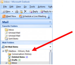 Step 1 of 2 in determining the size of your mailbox in Outlook 2007.