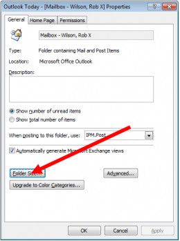 Step 2 of 2 in determining the size of your mailbox in Outlook 2007.