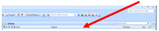 Showing where to click on Outlook 2007 to invoke Field Chooser.