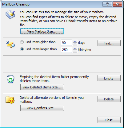 Use Mailbox Cleanup to identify old or oversized emails quickly in Outlook 2007.