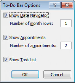 Configurable options for the To-Do bar in Outlook 2007.