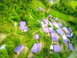 Ariel view of a village in Manakamana