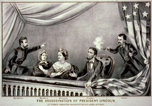 Lithograph of the Assassination of Abraham Lincoln. From left to right: Henry Rathbone, Clara Harris, Mary Todd Lincoln, Abraham Lincoln, and John Wilkes Booth. (Photo: Currier and Ives/Date circa 1865 -Wikimedia Commons and US Library of Congress)