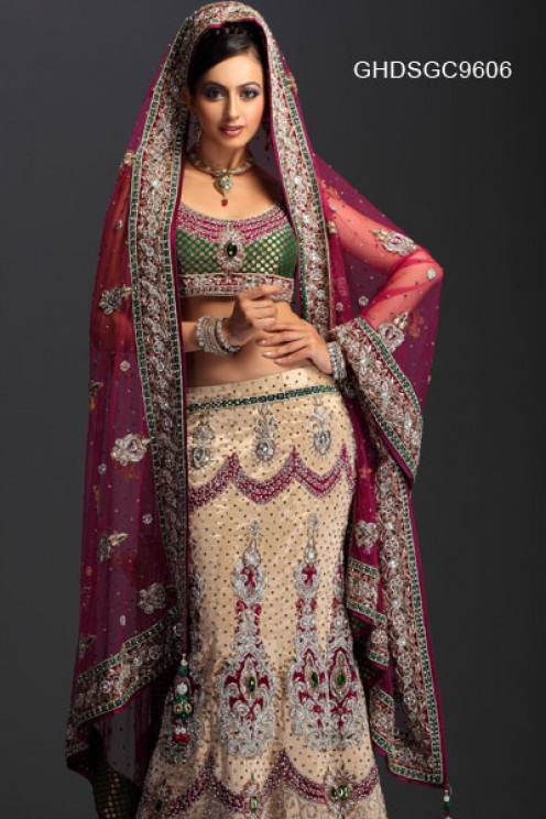 Crystal Zardosi Enriched Lehenga Choli. Photo courtesy of Cbazaar.com.