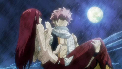 (from left to right) Erza Scarlet, Natsu Dragneel