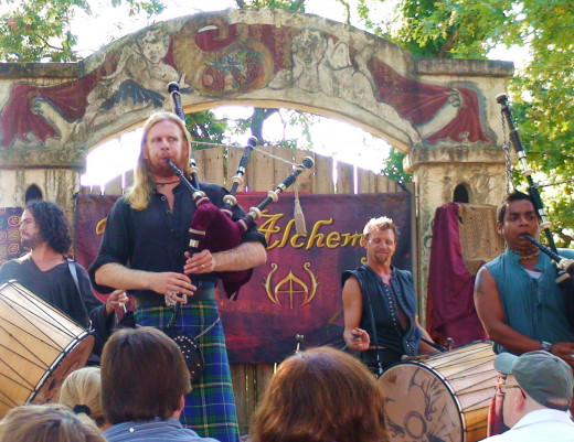 At one of the smaller stages, a bagpipe and drum group called Tartanic, plays to packed audiences.