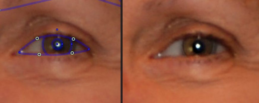 Here the outline was not centered or large enough, and the edit made a ring inside of the iris.