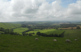 The rolling hills and vales of the Dorset countryside. Much of this farmland remains unchanged since Hardy's time
