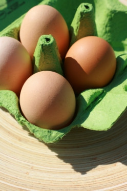 Many products like this egg carton are manufactured from recycled materials.