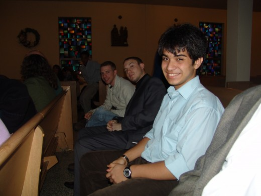 Vini (with two of my nephews) at Easter Vigil Mass the night my father became Catholic.