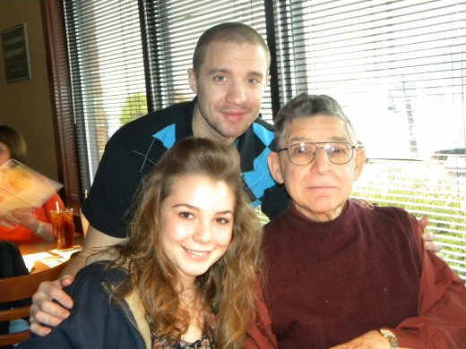 """Anna-Sophia with one of her American """"cousins"""" and her """"pappaw."""""""