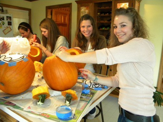 Anna-Sophia celebrated her 17th birthday (in October) with a party complete with pumpkin carving and hot-tubbing.