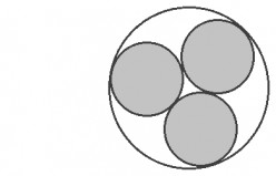 The smaller gray circles inscribed within the larger circle have equal sizes.