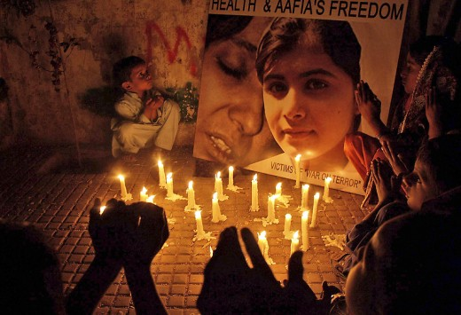 Vigils and support for Malala in Pakistan.