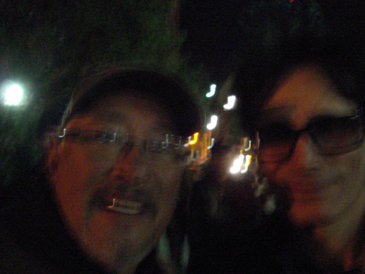 Me and Steve after the show.  Blurry but real. After grabbing him 3-times amid camera and smart phone mishaps he hangs in there with us for one more try.  Incidentally, his hands are three times the size of those of mortal men.