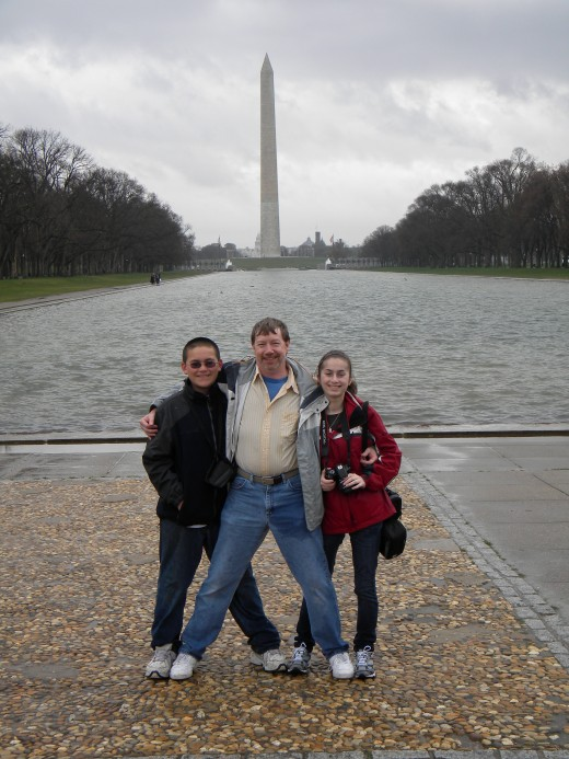 Johnny, Tony and Ana in front of the Washington Monument and Reflecting Pool