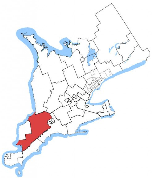 Map of the Lambton—Kent—Middlesex electoral district.