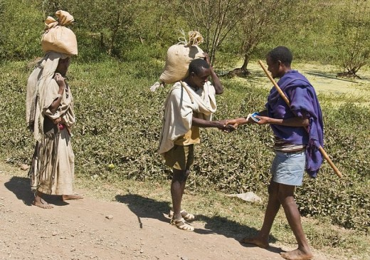 A. Davey took this photograph of two men greeting each other on October 26, 2007 along the route from the falls of the Blue Nile to the city of Bahir Dar in northwestern Ethiopia.