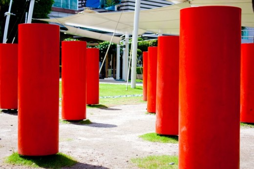 Presence, by Reg Yuson, is an installation of 20 free-standing floor chimes. The idea is to nudge the individual chimes to produce sounds that invite good vibes to fill the park.