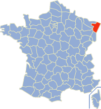 Map location of Bas-Rhin department, France
