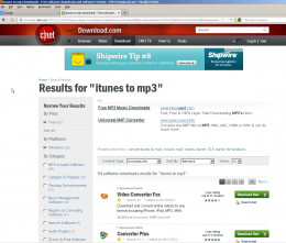 Fig 1.  Downloads.com Search Results