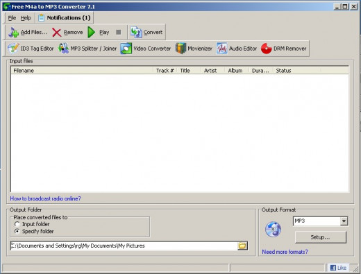 Fig 3. Free M4a to MP3 Converter Main Screen