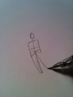 4) Next, draw some lines down from the bow tie shape to make his legs.