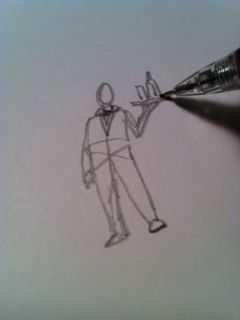 7) Now add a tray by drawing a horizontal line above his hand. Add a few rectangles for glasses on the tray.