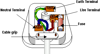 The wiring in a UK plug