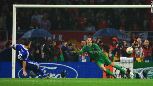 John Terry misses the penalty that could have won Chelsea the Champions League.