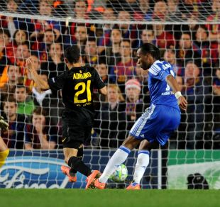Didier Drogba gives Chelsea the lead right on the stroke of half time.
