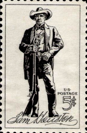 Sam Houston image on U.S. postage stamp
