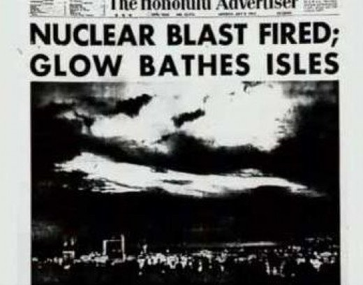 A newspaper headline after the Starfish Prime nuclear weapons testing.