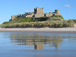 Bamburgh Castle from the beach, the classic view