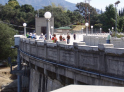 Devil's Gate Dam, the first and largest debris basin built in the San Gabriels - located in the Arroyo Seco Watershed.