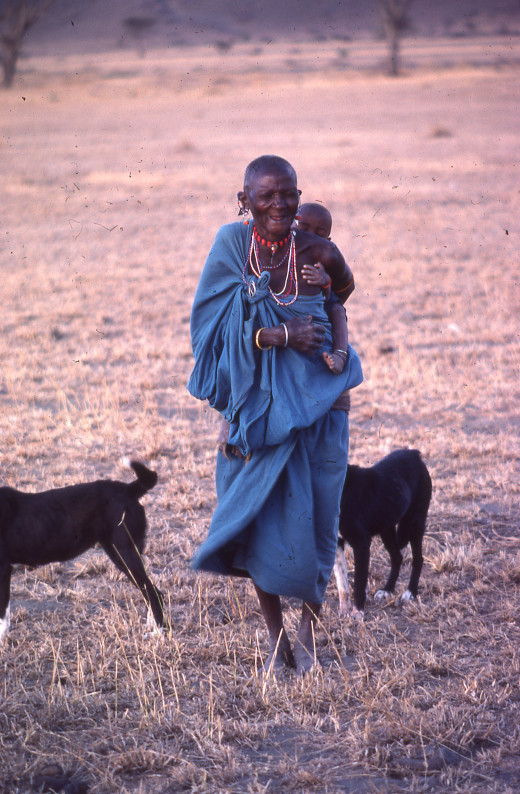 Masai woman and goats in Tanzania, East Africa