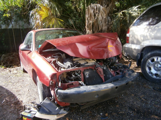 My Granddaughter's Ford Escort, or what is left of the car.