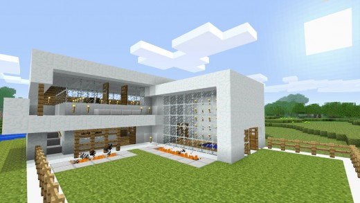 big modern style minecraft house/home, built by a very creative ...