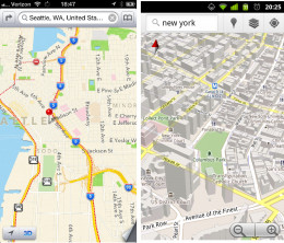 Screenshots of Apple's Maps app (on the left) and Google Maps 5.0 for Android.