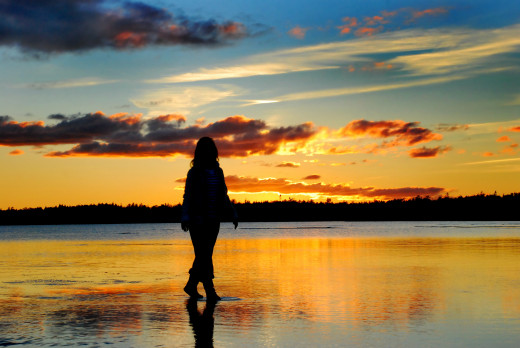 I'm walking on water on a sunset evening, Singing Sands, Bruce Peninsula, Tobermory