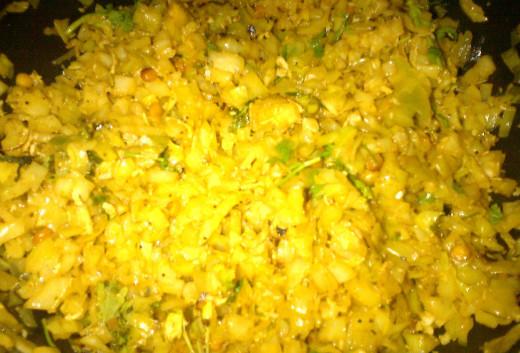 Tasty Cabbage Poriyal