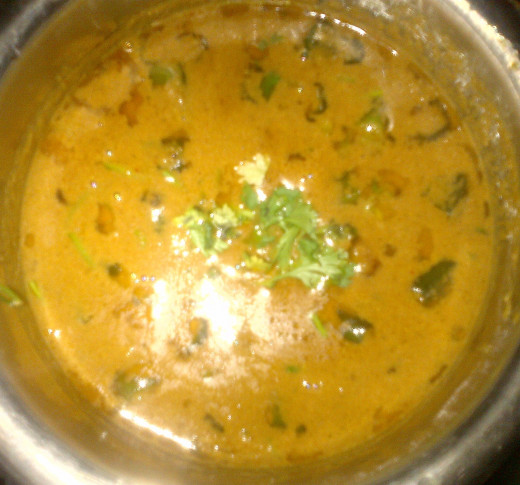 Garnished Vendakkai Puli kuzhambu