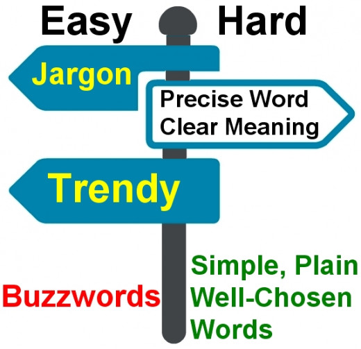 Using Buzzwords in lazy and sloppy expression which clearly shows that the writer puts conformity with jargon and popular words ahead of clarity of expression.