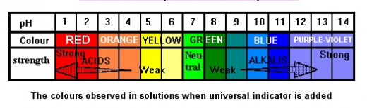 pH Scale Indicator (Photo Credit: http://www.docbrown.info/ - using Capture-a-Screenshot)