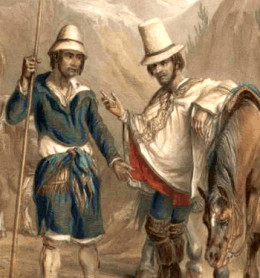 Social status is often associated with clothing and possessions. Compare the foreman with a horse and high hat with the inquilino in picture. Image from 19th century rural Chile.