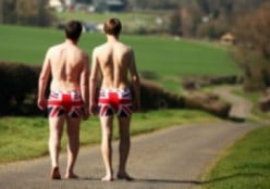 Their starting off outfits - union jack boxer shorts