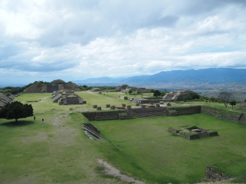 Aerial view of the Zapotec Ancient City of Monte Alban (including the Grand Plaza), Oaxaca, Mexico.