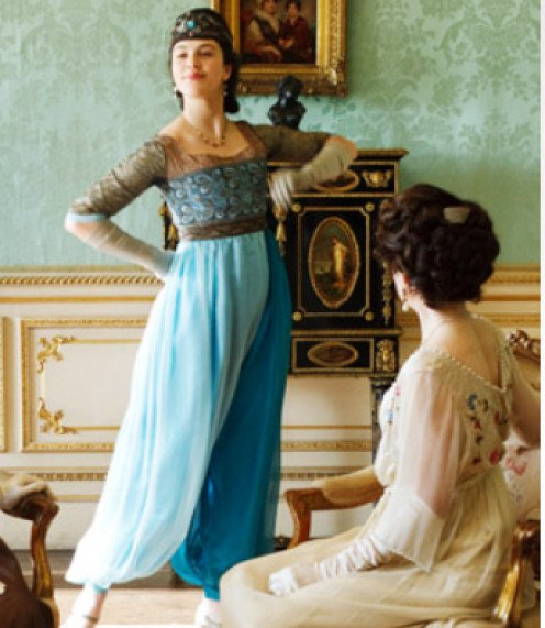 Lady Sybil Crawley wearing a shocking new fashion.