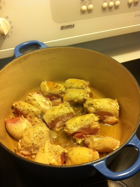Brown the chicken in a dutch oven.